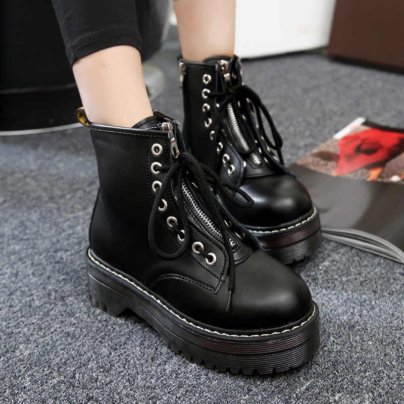 Fashion Zipper vorne Schuhe Frau High Heel Plattform PU Leder Stiefel Lace up jason Martins Stiefel Mädchen Motorrad Botas mujer