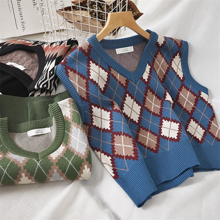 Spring Ethnic Knit Vest Women Short Knitted Sweater Coat Sleeveless Plaid Waistcoat Autumn Short Outwear Chalecos Para Mujer