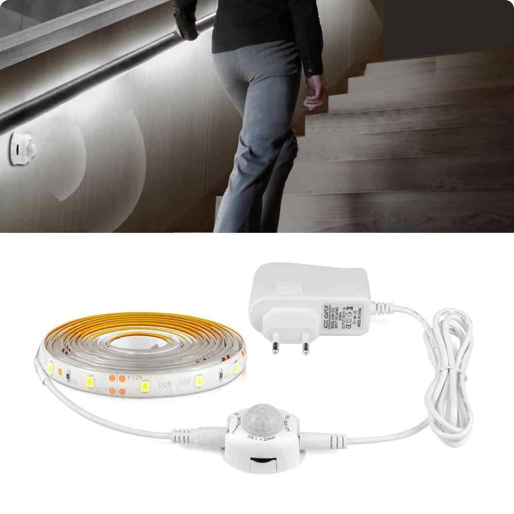 12V Lampu Malam Lampu Putih PIR MOTION SENSOR Light LED Strip Tangga Koridor Jalur Dapur Kamar Tidur Light 1 M -5 M Pita Ribbon
