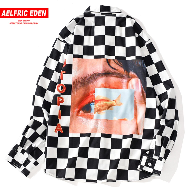 Aelfric Eden Plaid Eyes Printed Men Shirt Autumn Harajuku Hip Hop Tops Fashion Casual Cotton Male Long Sleeve Outwear Streetwear