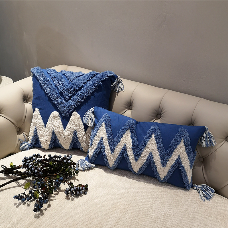 handmade luxury moroccan style cushion cover boho ethnic navy blue pillow cover with tassels 45x45cm 30x50cm homedecoration