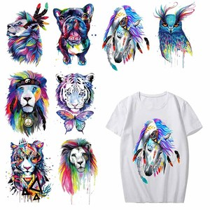 Iron on Colorful Tiger Dog Owl Patches for Clothing DIY T-shirt Dresses Applique Heat Transfer Vinyl Stickers Thermal Press H