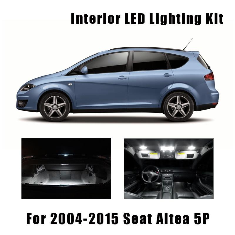 Купольные светодиодсветодиодный Лампы Canbus для салона, 13 шт., для сиденья Altea 5P 5P1 5P5 5P8 2004-2015 гг.