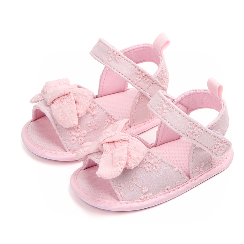 Cotton Bows Baby Sandals Soft Sole Summer Shoes Newborn Baby Girls Sandals Non-Slip Infant Toddler Sandals