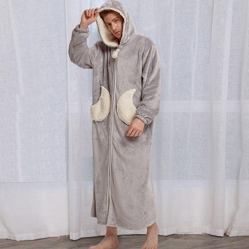 Image 5 - Women Winter Star Moon Plus Size Long Warm Flannel Bathrobe Pregnant Zipper Bath Robe Hooded Night Dressing Gown Men Sleepwear-in Robes from Underwear & Sleepwears on AliExpress