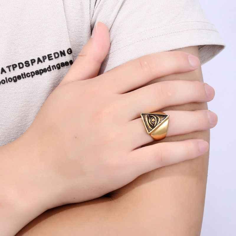 Joyería para hombre de acero inoxidable Vintage Biker anillo calavera plata anillos Punk masónico joyería