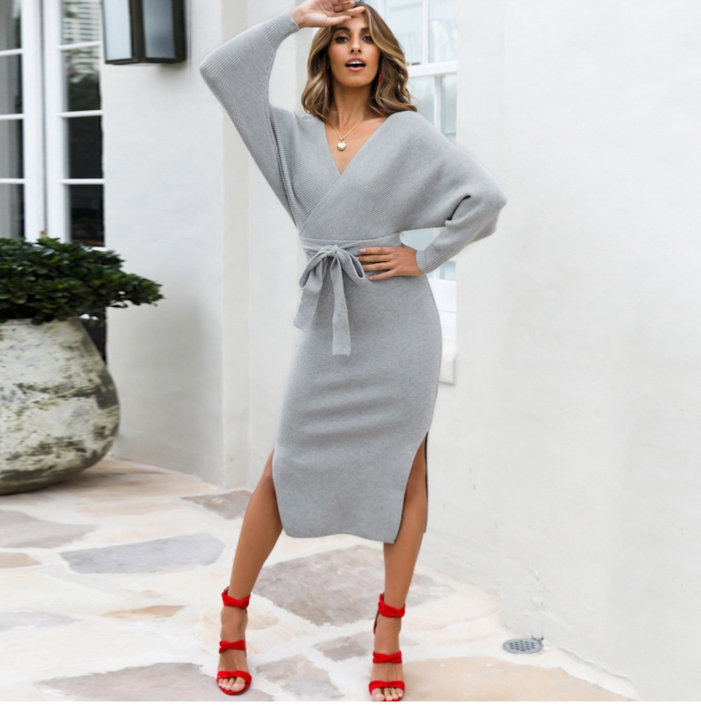 Long Sleeve V Neck With Cross Belt Sweater Knitted Dress 22