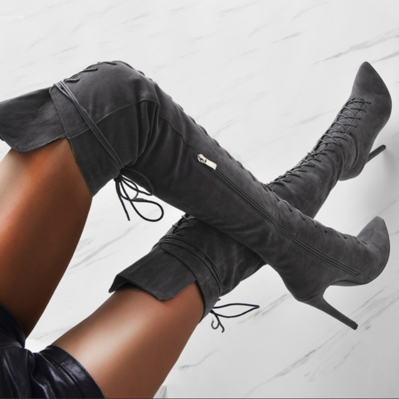 T station Boots Thin Heel Thigh High Boots Women Fashion Sexy Pointed Toe Cross straps Over the Knee Boots Female 2020 Black
