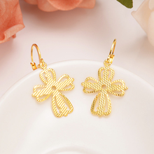 Gold Filled Women's Drop Earring Dangle Earring Charms Jewelry religions Christian Cross Earrings brincos Vintage girls gift gold african dubai filled women s drop earring flower dangle earring charms jewelry earrings brincos vintage girls kids gift