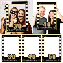 HUIRAN Black Gold Balloons 30 40 50 Years Cheers to 30 years Balloons Birthday 40 Years Birthday 50 years Party Decor Supplies cheap Latex W5044 Birthday Party Anniversary Ballon