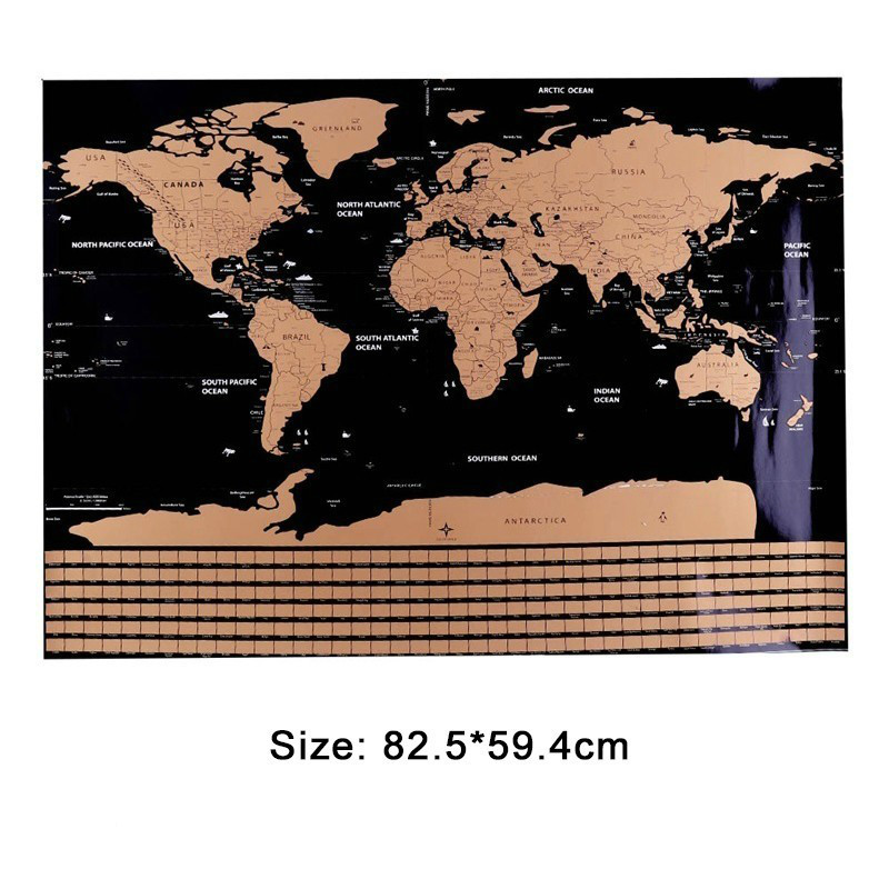 82.5X59.4cm Black World Travel Map World Tube Scratch Map Off Decoration Personalized Creative Map Erase Without Wall Stickers