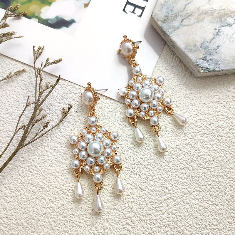 Flatfoosie New Simulated Pearl Drop Earrings For Women Geometric Round Shiny Colorful Crystal Statement Earrings Fashion Jewelry