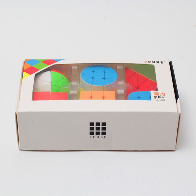 ZCUBE Bundle 6 Pieces/gift Set Pack Mini Magic Cube 2x2x2 3x3x3 Magic Ball Cylinder Key Chain Puzzle Educational Toys For Kids 6