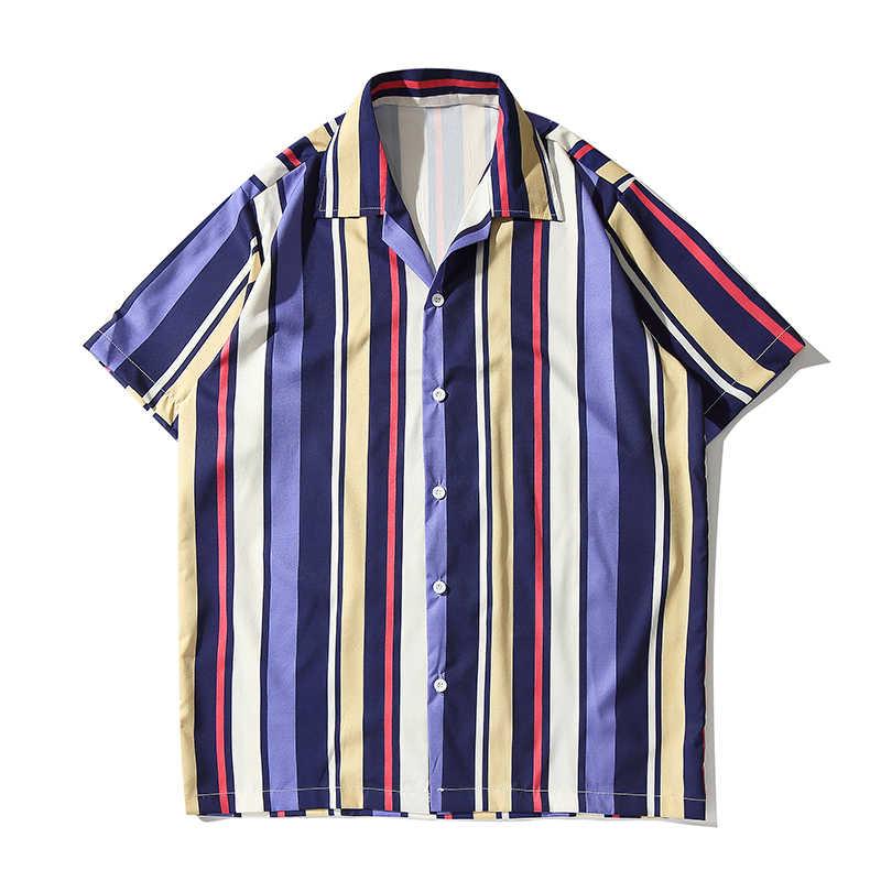 Темный Логотип Мужская гавайская рубашка фиолетовый синий полосатый Для мужчин рубашки новые летние модные уличные рубашка хип-хоп Уличная Для мужчин Костюмы