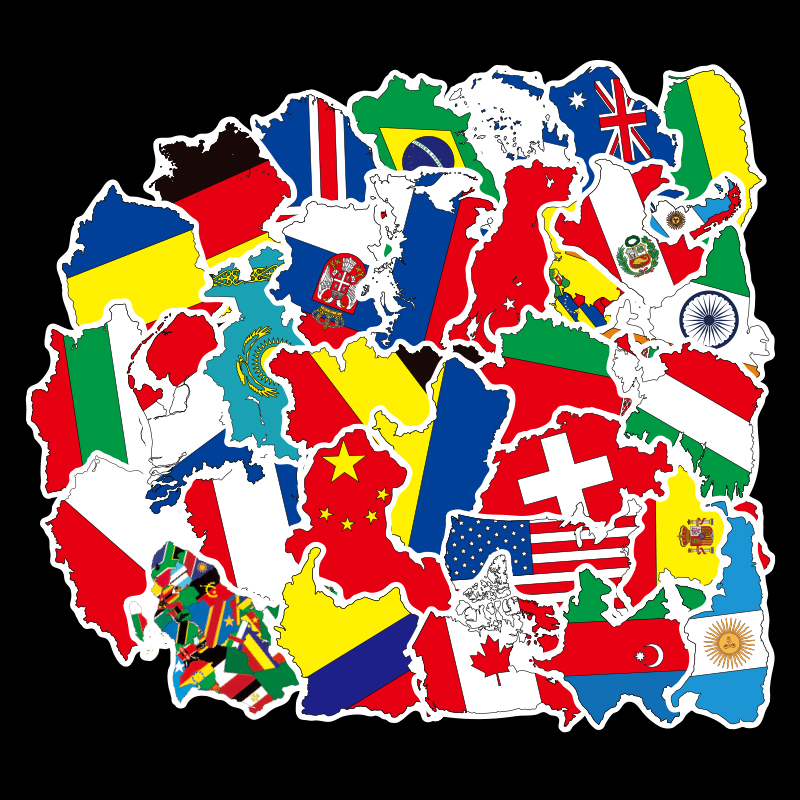 50pcs National Flags Stickers Toys Countries Map Sticker DIY Scrapbooking Suitcase To DIY Scrapbooking Suitcase Laptop Car