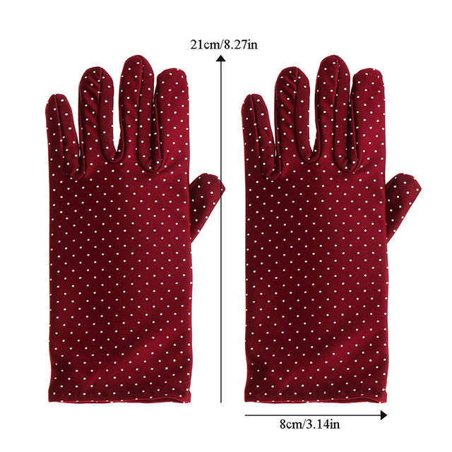 1 Pair New Fashion Sunscreen Wrist Gloves Dot Elastic Mittens Women Gloves Knitted Fabric Vintage Mittens For Drive Wholesale 2