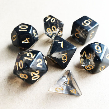 7Pcs/Set Polyhedral Dnd Dice Set Multisides Mixed Transparent Color Dice TRPG Games Board Game Accessories