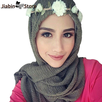 wholesale price 95*180cm women muslim crinkle hijab scarf femme musulman soft cotton headscarf islamic shawls and wraps