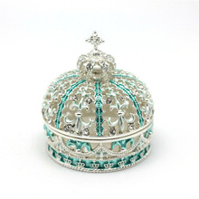 European Style Crystal Enamel Crown Shape Metal Jewelry Trinket Box