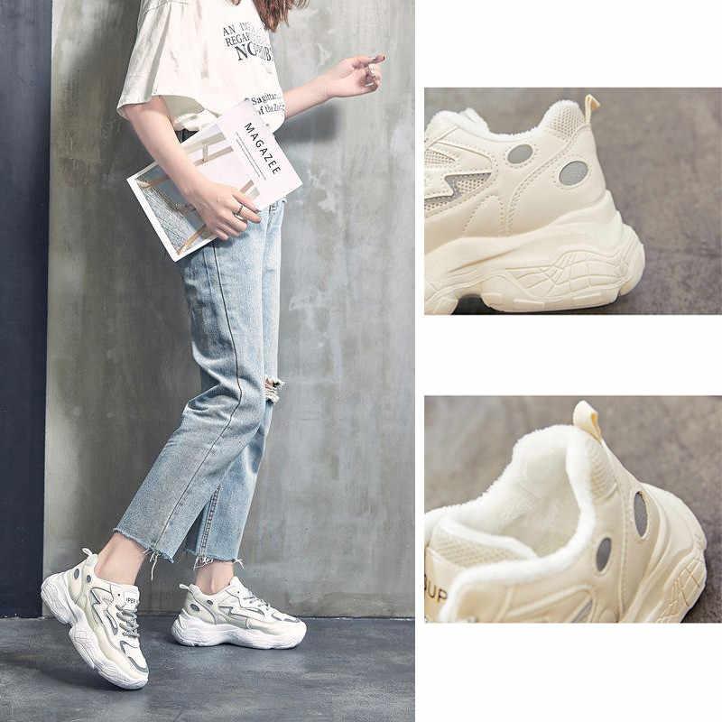 Delle Donne di modo di Lusso Riflettente Sneakers Ulzzang Papà Scarpe Inverno Caldo di Spessore Peluche Della Maglia Lace-up Nero Bianco Da Tennis Basket scarpe
