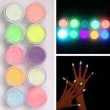 10 Pcs Noctilucent Nail Glitter Powder Glowing Nail