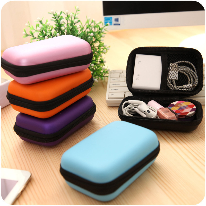 Zipper Earphone Case Leather Earphone Storage Box Portable USB Waterproof Cable Organizer Carrying Hard Bag Coin Memory Card