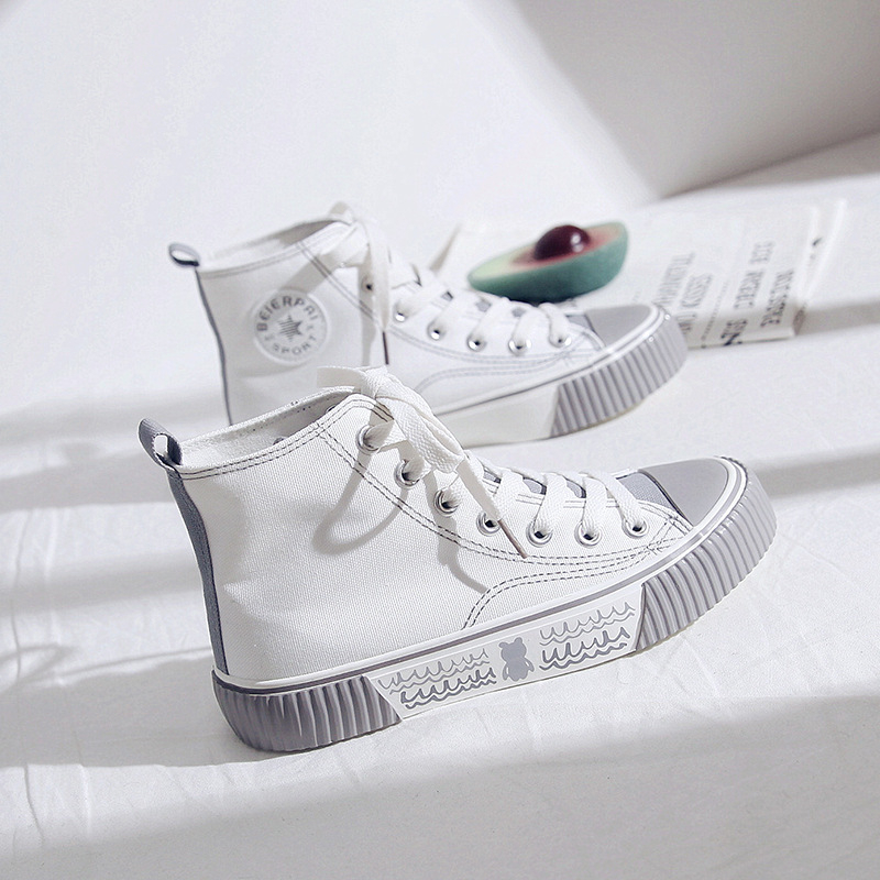 Women s Shoes 2020 New Women Sneakers Funny High Women Sneakers Printed Cartoon Casual Trendy Canvas