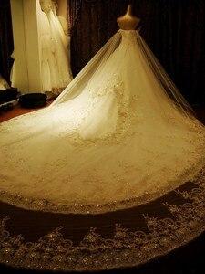 Image 3 - مخصص الكرة بثوب الحبيب الرباط كريستال مطرز الماس الرسمي فساتين الزفاف الفاخرة زي العرائس الحقيقي الصور XJ05