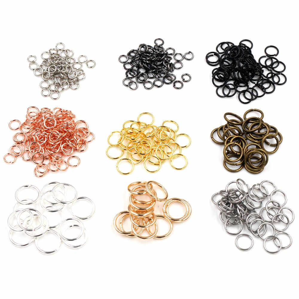 200 sztuk/partia 3/4/5/6/7/8/10mm Metal DIY ocena biżuteria otwarte pojedyncze pętle Jump pierścienie i pierścień dzielony do tworzenia biżuterii