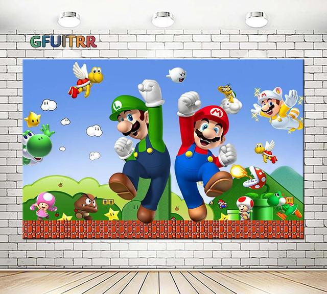 GFUITRR Marios Bros Photography Backdrop Baby Shower Kids 1st Birthday Party Photo Background Game Vinyl Photo Booth Props