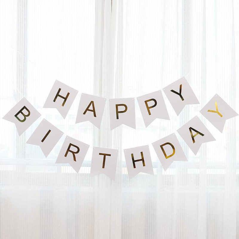 Papel bunting guirlanda feliz aniversário banners bandeira número da letra folha balão de lantejoulas balões chá de fraldas decoração festa fornecimento