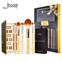 Jessup 6 pièces bambou pinceaux de maquillage professionnels fard à paupières ensemble poudre surligneur brosse nettoyant éponge et 12 couleurs fard à paupières Palette