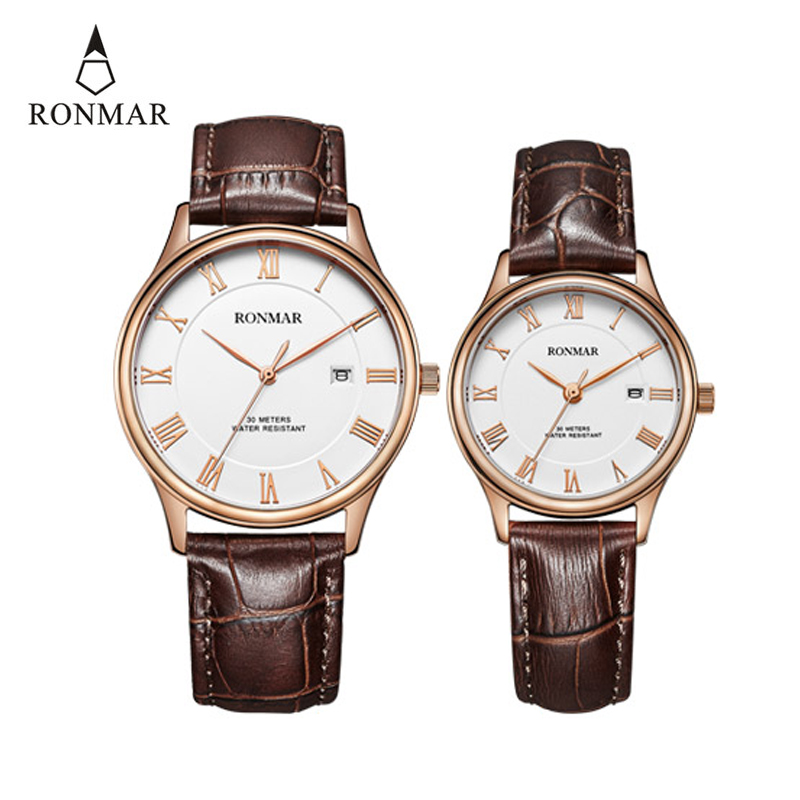 RONMAR Fashion Couple Watches Top Brand Luxury Wristwatch Waterproof Quartz Watch Leather Strap Male Clock Relogio Masculino