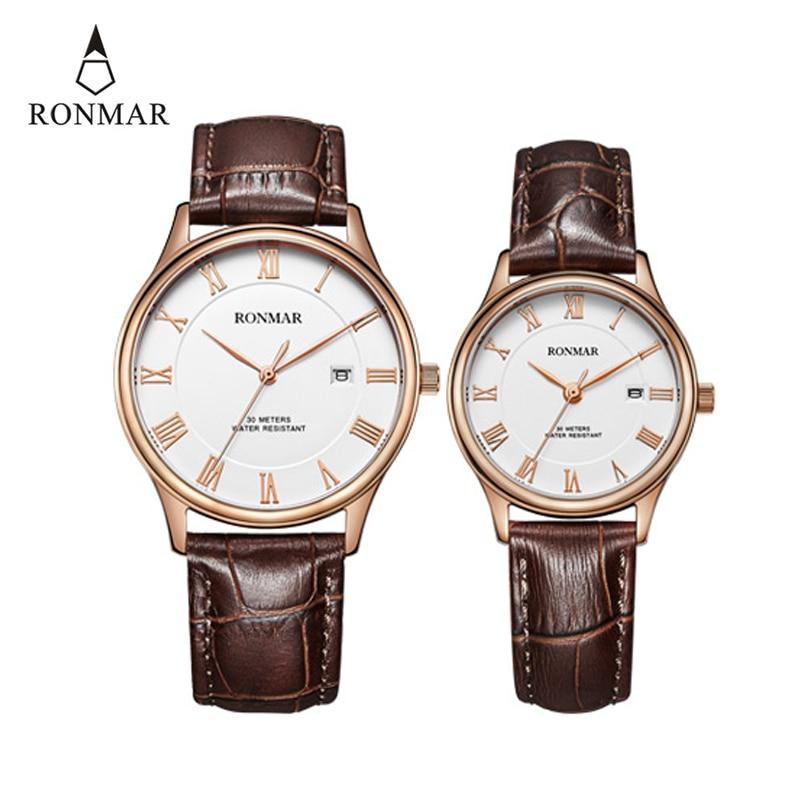 RONMAR Fashion Couple Watches Top Brand Luxury Wristwatch Waterproof Quartz Watch Leather Strap Male Clock Relogio Masculino