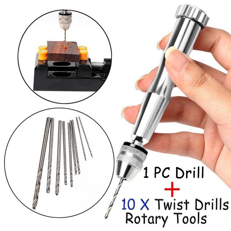 0.3-3.2mm Aluminum Hand Drill With Keyless Chuck + 10 Units Torsion Drill Mini Jewelry Woodworking Rotary Drilling Tools