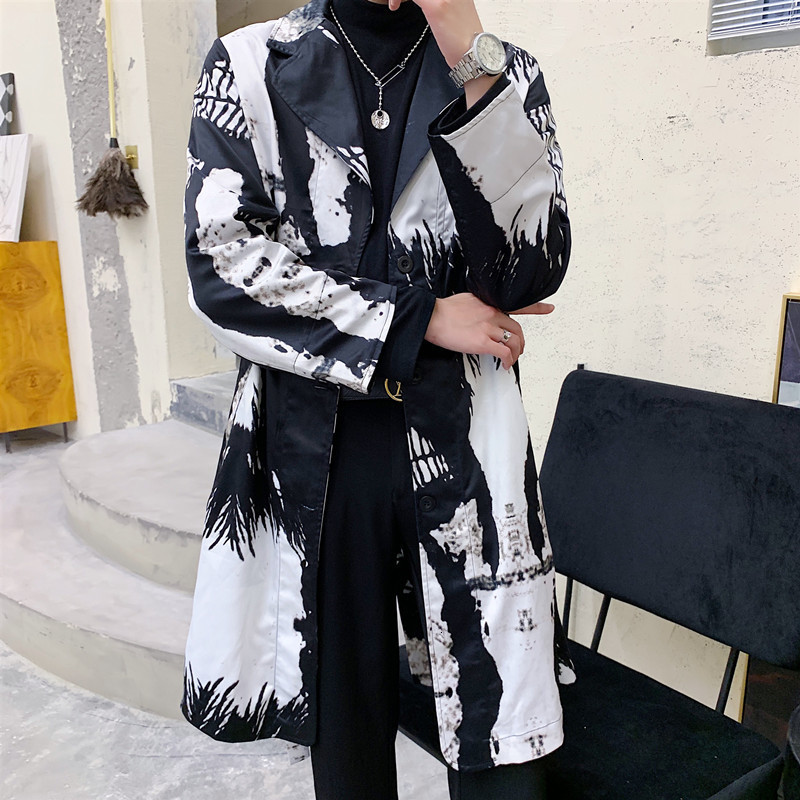 Casual Jacket Autumn Outerwear Overcoat Abrigo Largo Hombre Men Black And White Printing   Trench   Coat Streetwear Fashion Hip Hop
