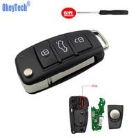 OkeyTech für Audi A6L A2 A3 S4 Quattro Avant Flip Folding Auto Auto Remote Key 3 Taste HU66 Klinge 8E0837220R 433Mhz ID48 Chip-in Autoschlüssel aus Kraftfahrzeuge und Motorräder bei