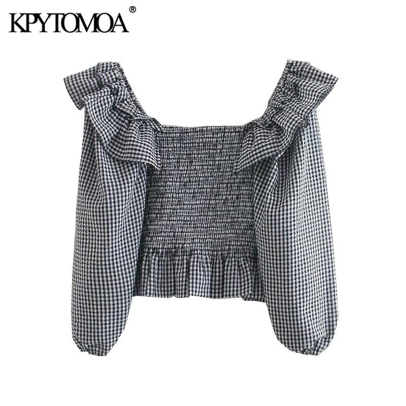 KPYTOMOA Frauen 2020 Mode Elastische Gesmokt Kräuselte Cropped Blusen Vintage Laterne Hülse Plaid Weiblichen Shirts Blusas Chic Tops