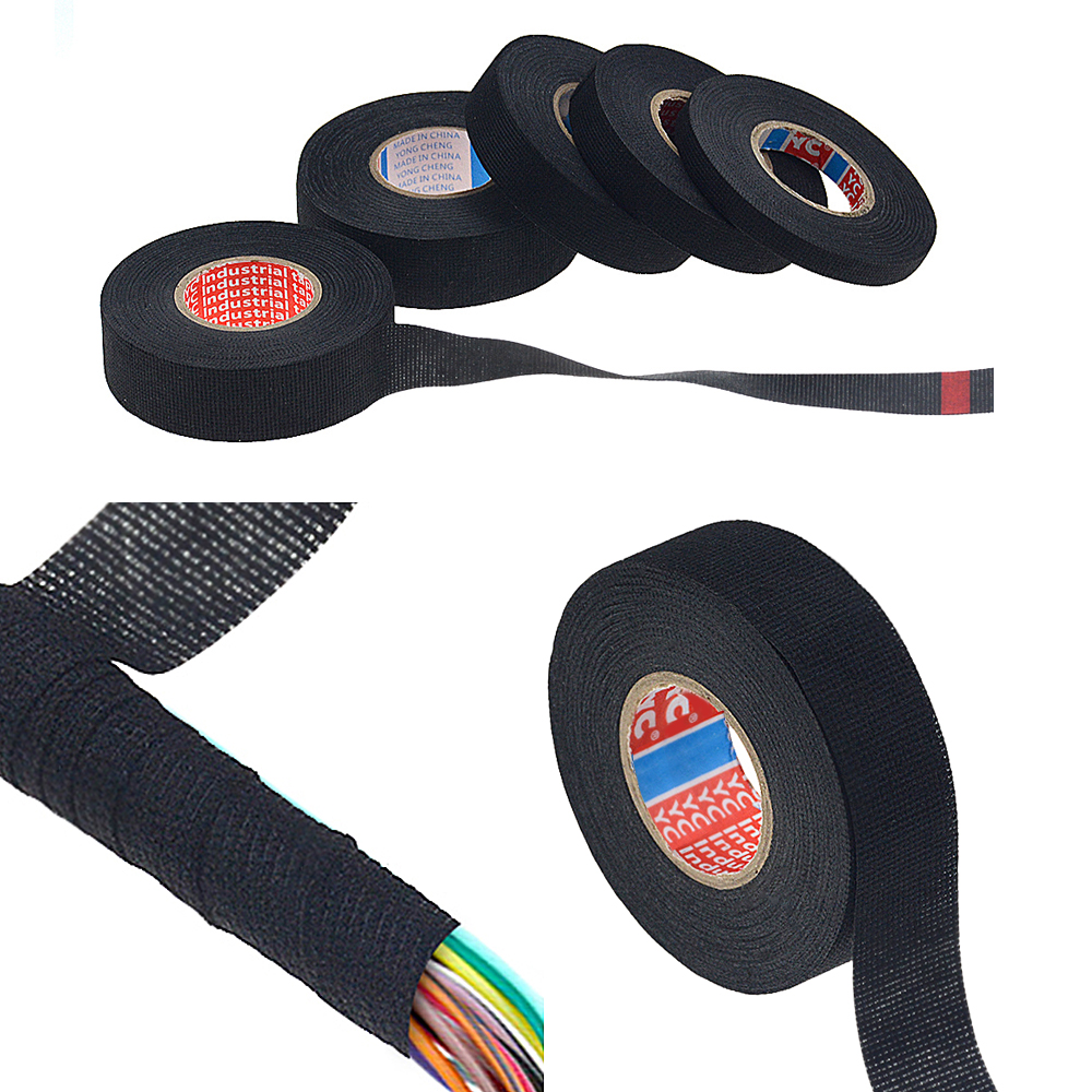 New Adhesive Cloth Tape For Cable Harness Wiring Loom Width 9 / 15/ 19/ 25/ 32 mm Length15M Car Velvet Wiring Harness Tape HOT