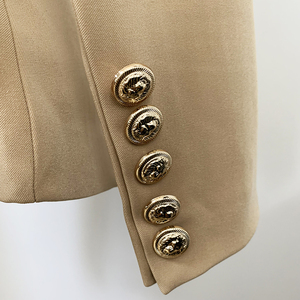 Image 5 - Newest 2020 Designer Blazer Jacket Womens Lion Metal Buttons Double Breasted Blazer Star Style Outer Wear Khaki