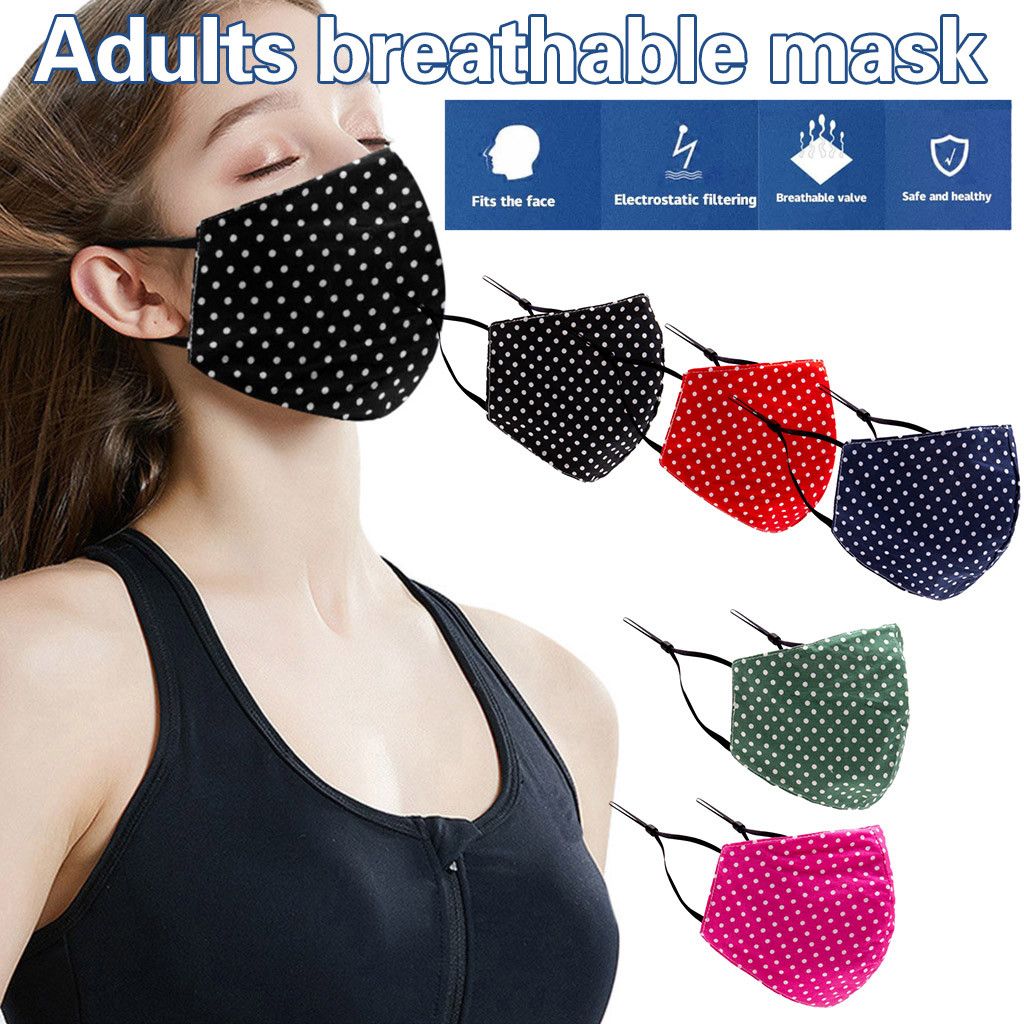 Adult Women Man Reusable Maskmask Cotton Dot Pattern Masks Dustproof  Face Masks Breathable Protective Facemasks Free Shipping