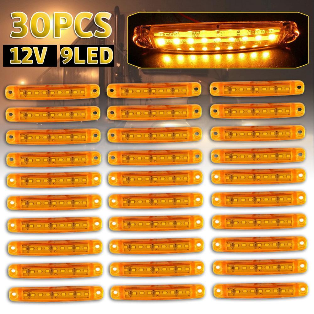 30Pc Durable Bernstein 9-LED Lkw-anhänger Lkw Versiegelt Seite Marker Spiel Licht