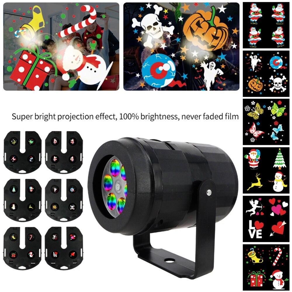 LED Spotlight Waterproof Indoor Outdoor Spot Lights 6 Pattern Projector Lamp For Party US Plug/EU Plug