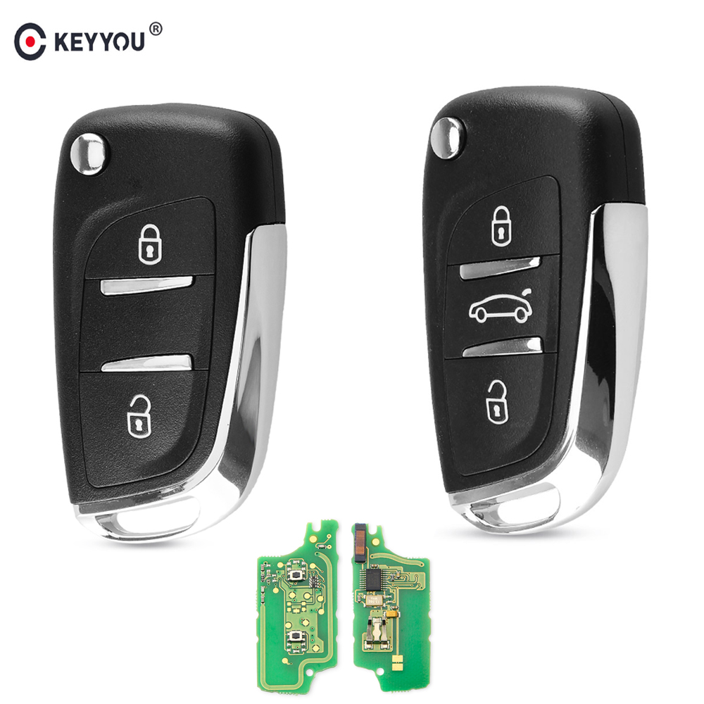 KEYYOU For Peugeot 307 308 408 407 3008 Partner HCA/VA2 Blade Modified Remote Key 433MHz ASK 2/3 Buttons Car Key CE0523 ID46