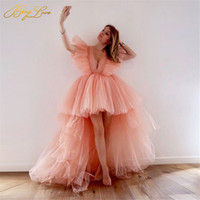 Berylove Single Elegant Trendy Tulle Blush Pink Tiered Tulle Evening Dress 2020 High low Ruffles Sleeves Pink Lovely Prom Gown