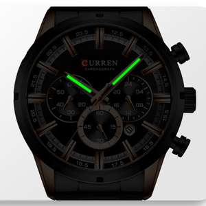 Image 3 - Luxury Brand CURREN Sporty Watch Mens Quartz Chronograph Wristwatches with Luminous hands 8355 Fashion Stainless Steel Clock