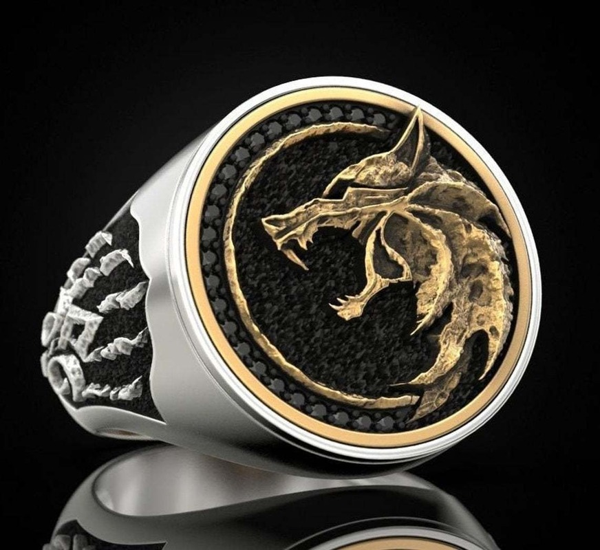 Hunter Wolf Claw Ring 925 Silver Viking Warrior Vintage Bicolor Men's Ring Gift Jewelry Ring Wholesale Size 7-12