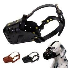 Регулируемый кожаный намордник против лая, маска для рта для укусов домашних животных, жевательный намордник для собаки, товары для крупных собак, немецкая овчарка Pitbull