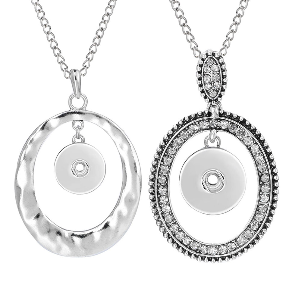 New Snap Necklace Jewelry Oval Metal Snap Pendant Necklace Fit 18mm Snaps Button for Women Accessories ZG499