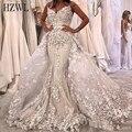 Luxo 3d-floral apliques sereia vestido de casamento destacável trem querida pescoço zíper voltar vestido de noiva noiva